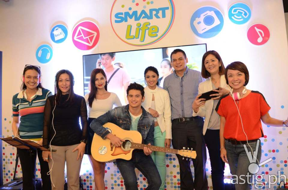 Jasmine Curtis-Smith Nadine Lustre and James Reid at the launching of the Smart Life store