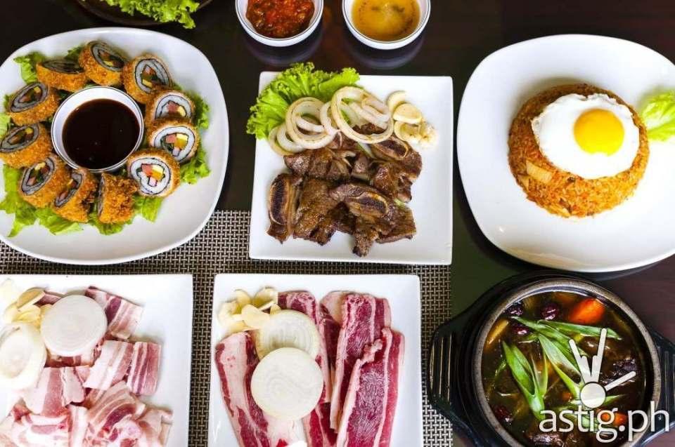 Clockwise from top-left: Tonkatsu Kimbap, LA Galbi,  Bokkumbap, Galbi Jjim, Woosamgyup, Samgyeopsal at Leann's Tea House