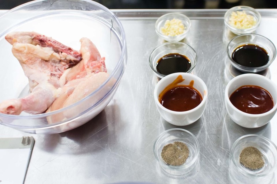 The main ingredients for chicken barbecue are: garlic, Kecap Manis, banana catsup, pepper, and of course, chicken
