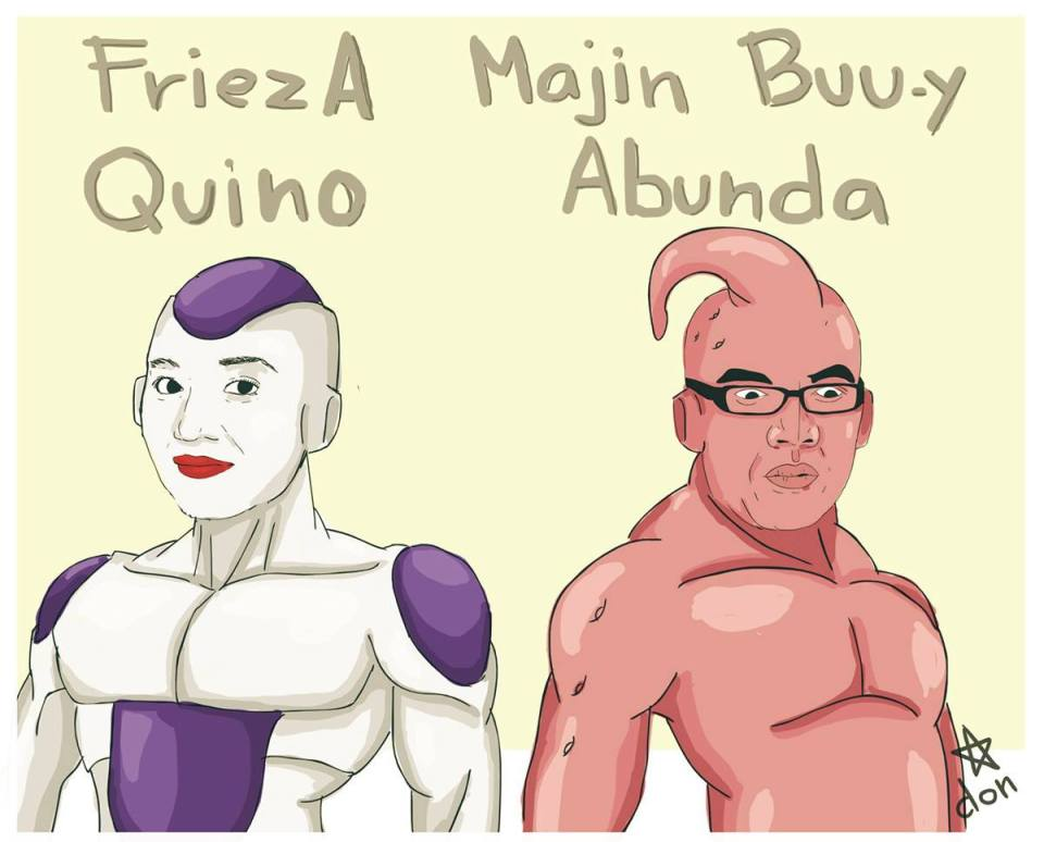 "Kris Aquno as ""FriezA Quino"" (Frieza) and Boy Abunda as Majin Buu-y Abunda (Majin Buu)"
