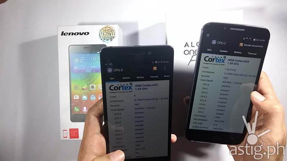In AnTuTu Alcatel ONETOUCH Flash Plus only shows 7 cores but 8 CPU vs 8 cores on the Lenovo A7000