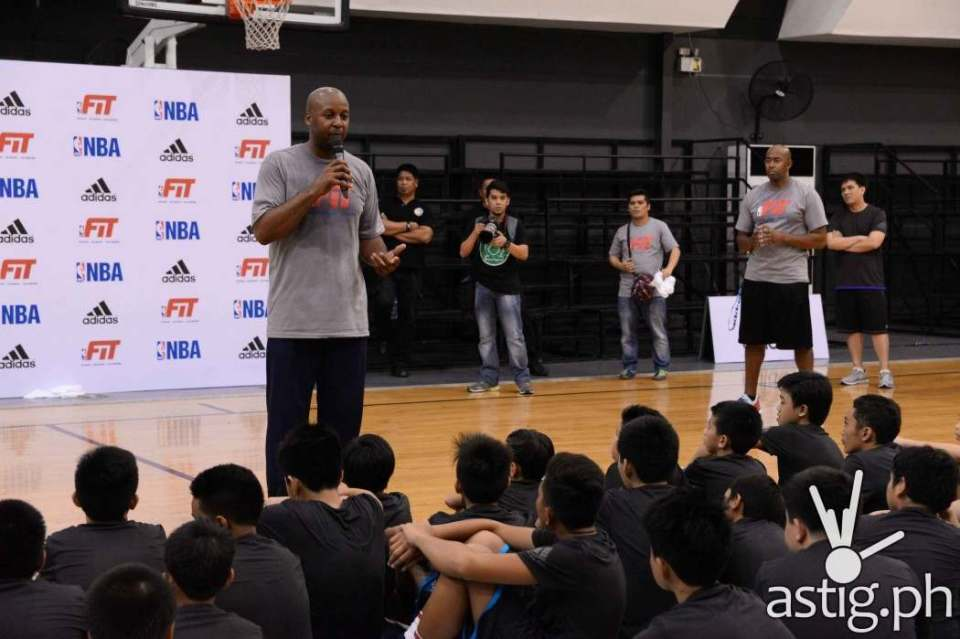Three-time NBA Champion Brian Shaw pumping up the participants during the NBA FIT  adidas Nations Skills Camp held last July 31, 2015 at the Gatorade Hoops Center