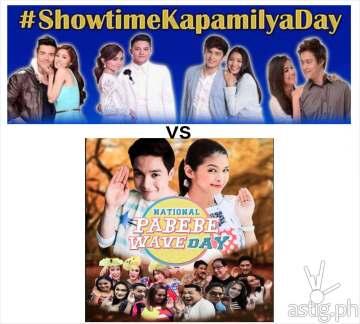 Its showtime kapamilya day vs aldub's national pabebe wave day
