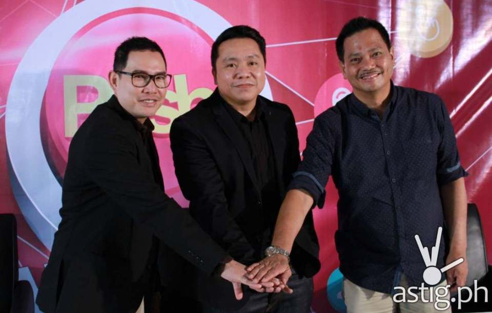 ABS-CBN digital content publishing head RIchard Reynante, PLDT VP and Home Marketing head Gary Dujali, and ABS-CBN Integrated Sales head August Benitez