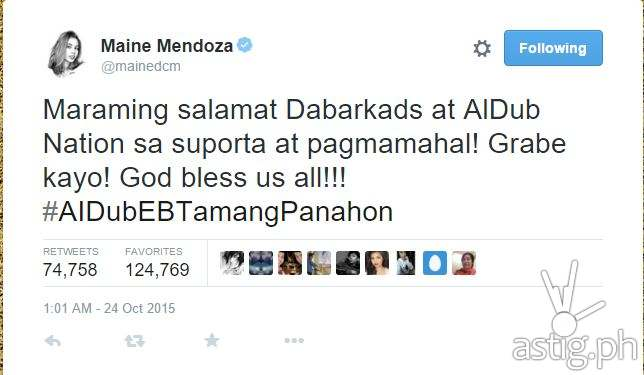 #ALDubEBTamangPanahon most shared tweet by Maine Mendoza