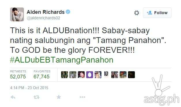 #ALDubEBTamangPanahon top tweet by Alden Richards