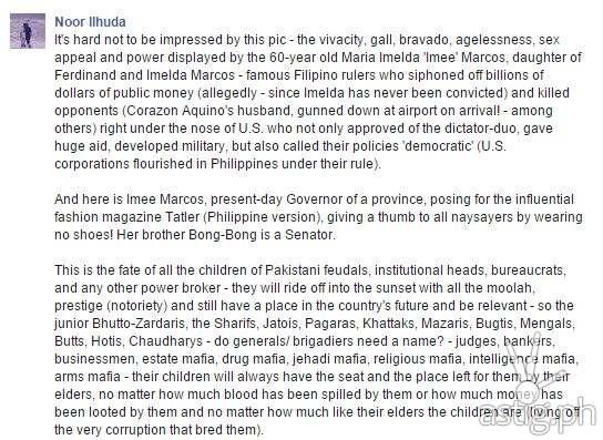 Impressed Facebook post by Noor Ilhuda