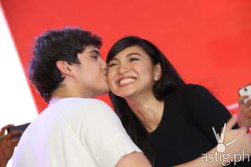 James gives a kiss on the cheek to Nadine due to public demand