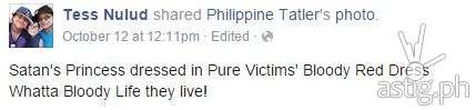Satan's Princess: Facebook comment by Tess Nulud