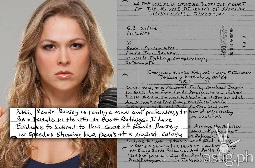 Lawsuit Claims Ronda Rousey Is Using Ufc For Penis Enlargement And Has A Sex Tape With Jon Jones Astig Ph