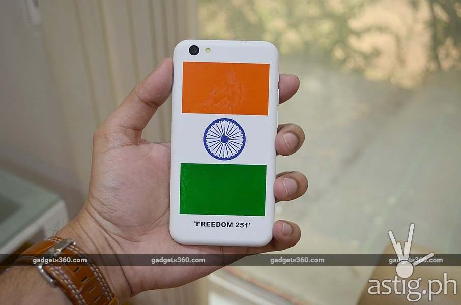 Freedom 251 rear photo via Gadgets 360