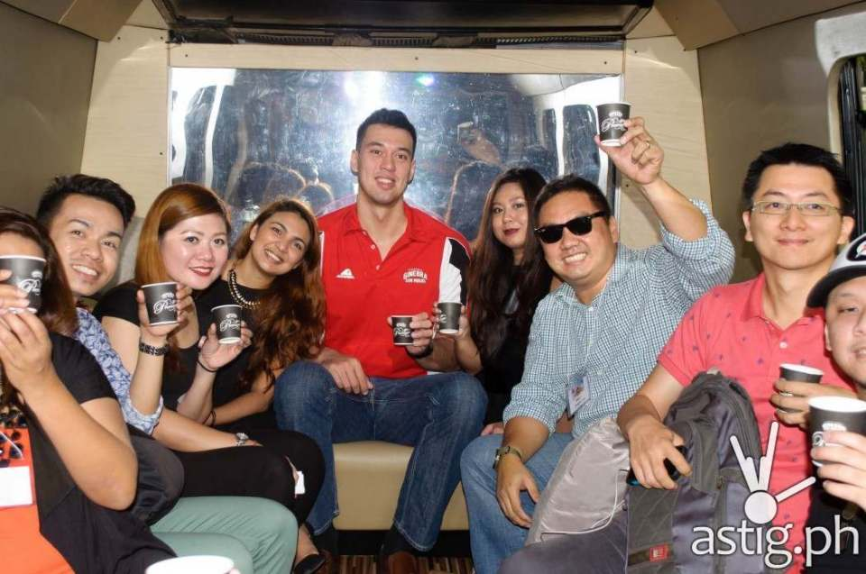 Greg Slaughter with members of the media inside The Party Bus Gindependence Day Ginebra San Miguel