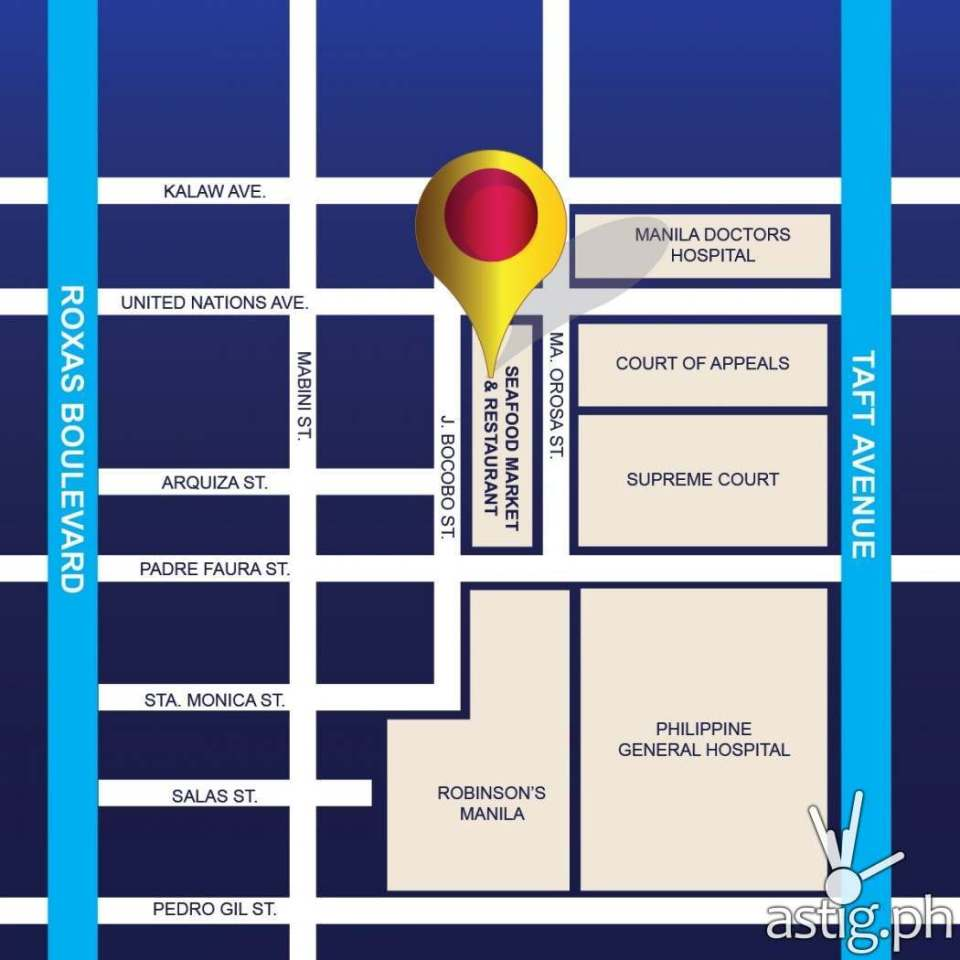 Seafood Market and Restaurant Map