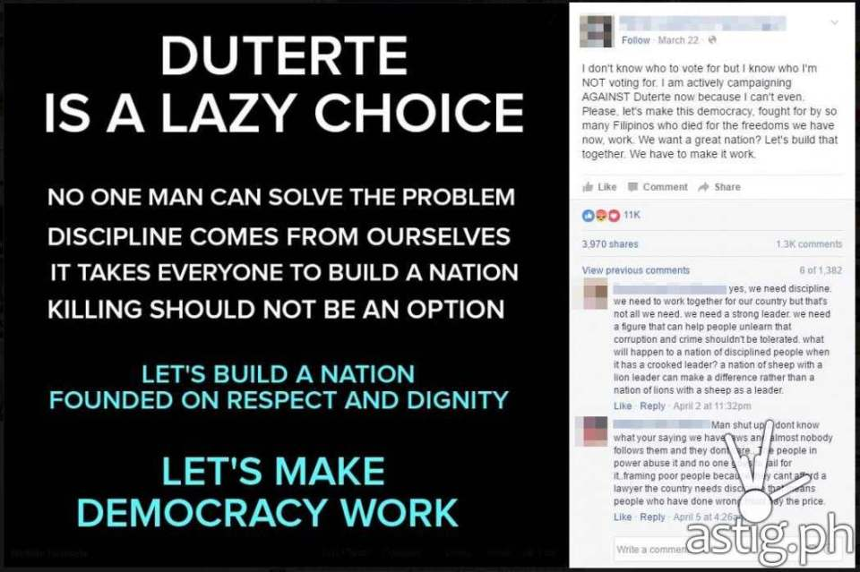 """Duterte is a lazy choice"" post on Facebook"