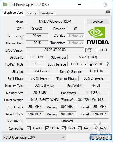 NVIDIA GeForce 920M GPU hardware information via GPU-Z - ASUS ViVoBook Flip TP301UJ