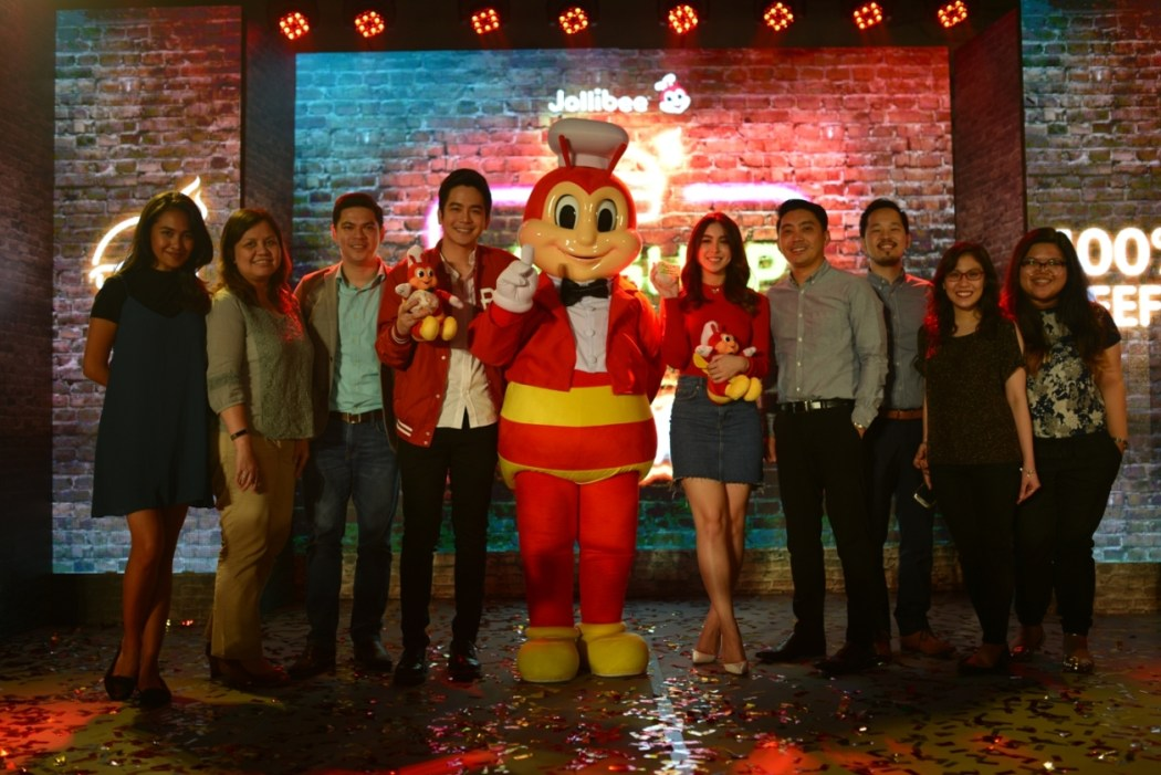 Joining Jollibee to welcome Joshua Garcia and Julia Baretto are Jollibee Philippines' Marketing Team (L-R) Brand and PR Manager Cat Triviño, Brand Communications and Digital Director Arline Adeva