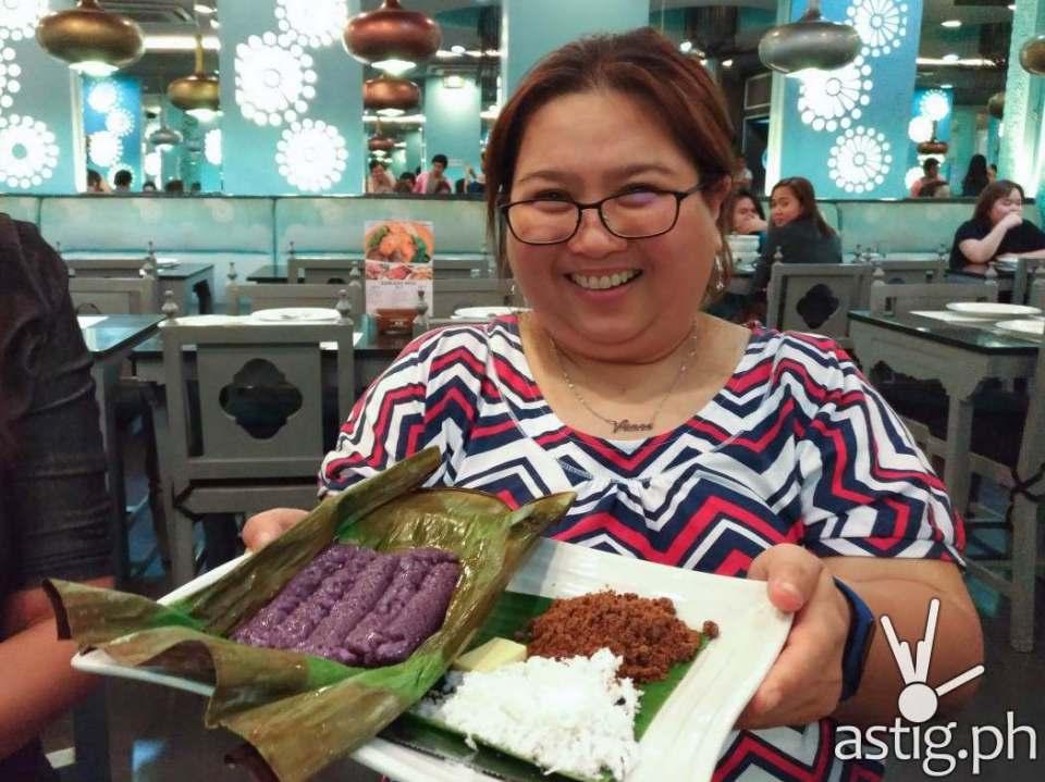 Vance Madrid of purpleplumfairy.com showcasing the Puto Bumbong - Mangan Restaurant Glorietta 2