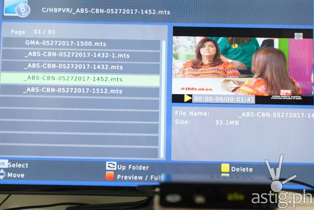 Live TV recordings are saved in MTS format on the WOW! TV Box