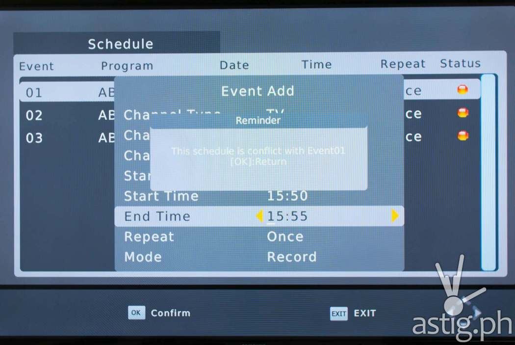 You can only record one channel at a time on the WOW! TV Box