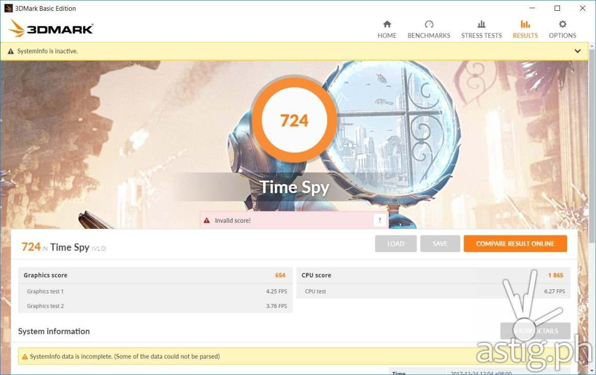 3DMark Time Spy benchmark results - ASUS VivoBook S15 X510UQ