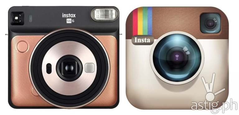 Fujifilm Instax SQUARE SQ6 (left) vs Instagram's old logo (right)