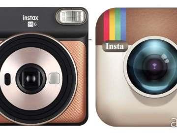 Fujifilm Instax SQUARE SQ6 (left) vs Instagram's old logo (right)