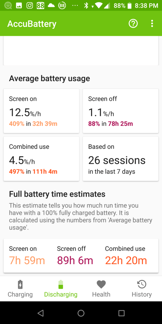 Battery life benchmark AccuBattery - ASUS Zenfone Max Pro M1