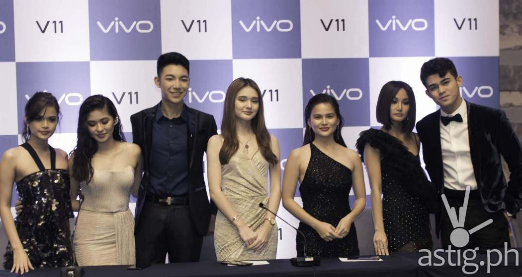 Maris Racal, Vern Enciso, Darren Espato, Julie Ann San Jose, Verniece Enciso, Chienna Filomeno, and Iñigo Pascual at the Vivo V11 Philippine launch held in Bonifacio Global City, Taguig