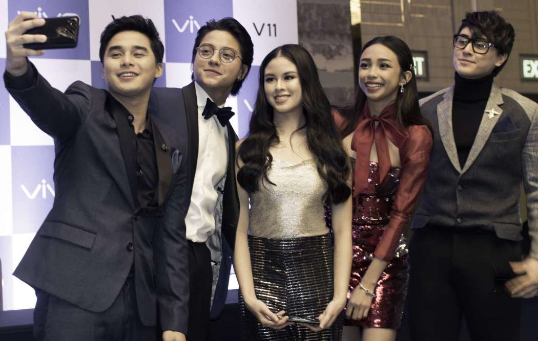McCoy De Leon, Daniel Padilla, Kisses Delavin, Maymay Entrata, and Robert Barber at the Vivo V11 Philippine launch held in Bonifacio Global City, Taguig