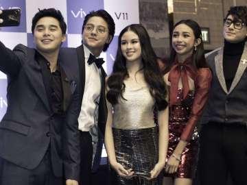 McCoy De Leon, Daniel Padilla, Kisses Delavin, Maymay Entrata, and Robert Barber at the Vivo V11 Philippine launch held in Bonifacio Global City, Taguig