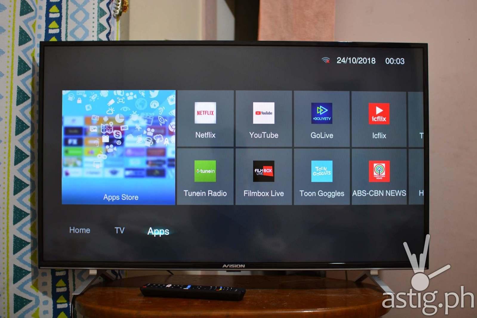 AVision 43FL801 Smart LED TV - Smart apps