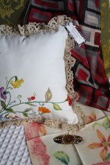Vintage Pillow, scarf, hankie and brooch