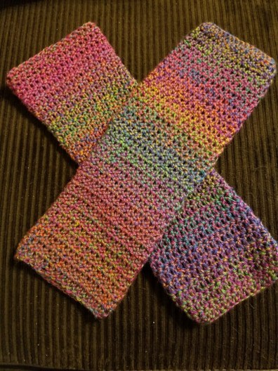 Legwarmers that I literally just finished tonight but rainbow is life.
