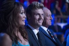 Judge Carrie Ann Inaba, guest judge Nick Carter and judge Len Goodman on 'Dancing with the Stars,' Monday, April 24. The eight remaining celebrities dance to songs from some of the most popular boy bands and girl groups throughout history, and the men and women also compete against each other in team dances. (ABC)