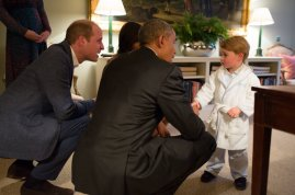 President Barack Obama with First Lady Michelle Obama meets Prince George the Duke and Duchess of Cambridge watch at Kensington Palace in London April 22, 2016. (Official White House Photo by Pete Souza)