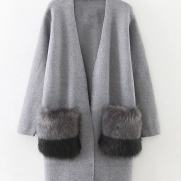 faux fur embellished long line cardigan