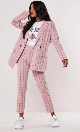 Missguided - Pink Co Ord Plaid Oversized Blazer