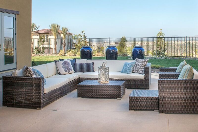 Patio staging with brown and cream accents