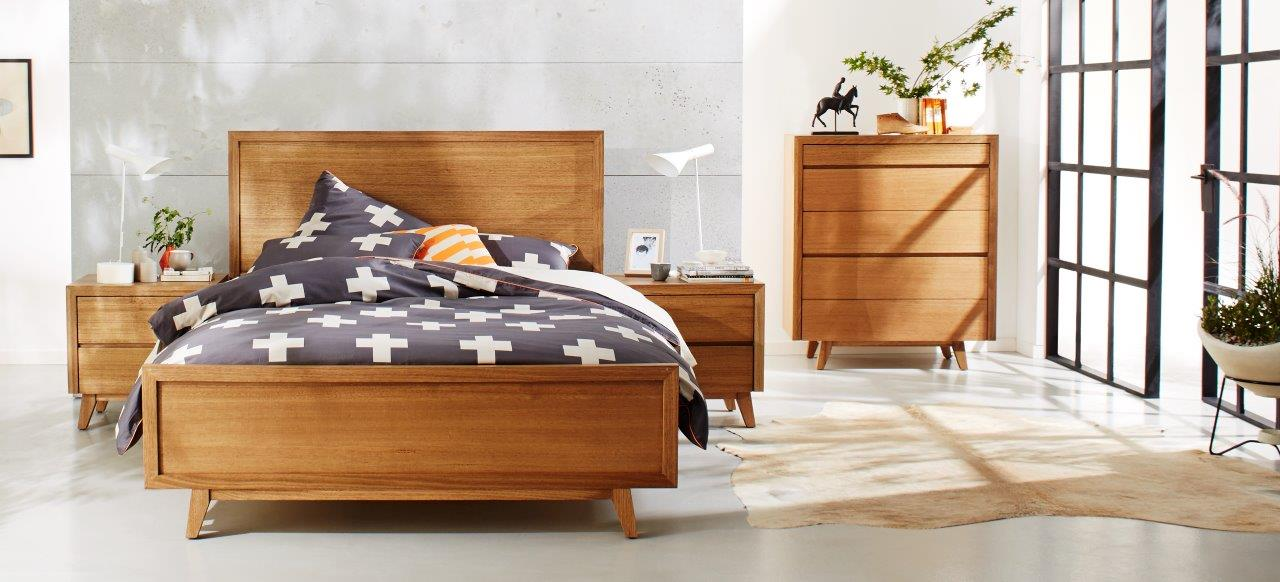 Photograph of Astra Furniture Retro bedroom range crafted from solid Tasmanian Oak