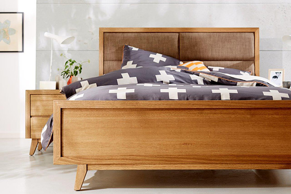 Retro Tasmanian Oak Upholstered Bedhead by Astra Furniture