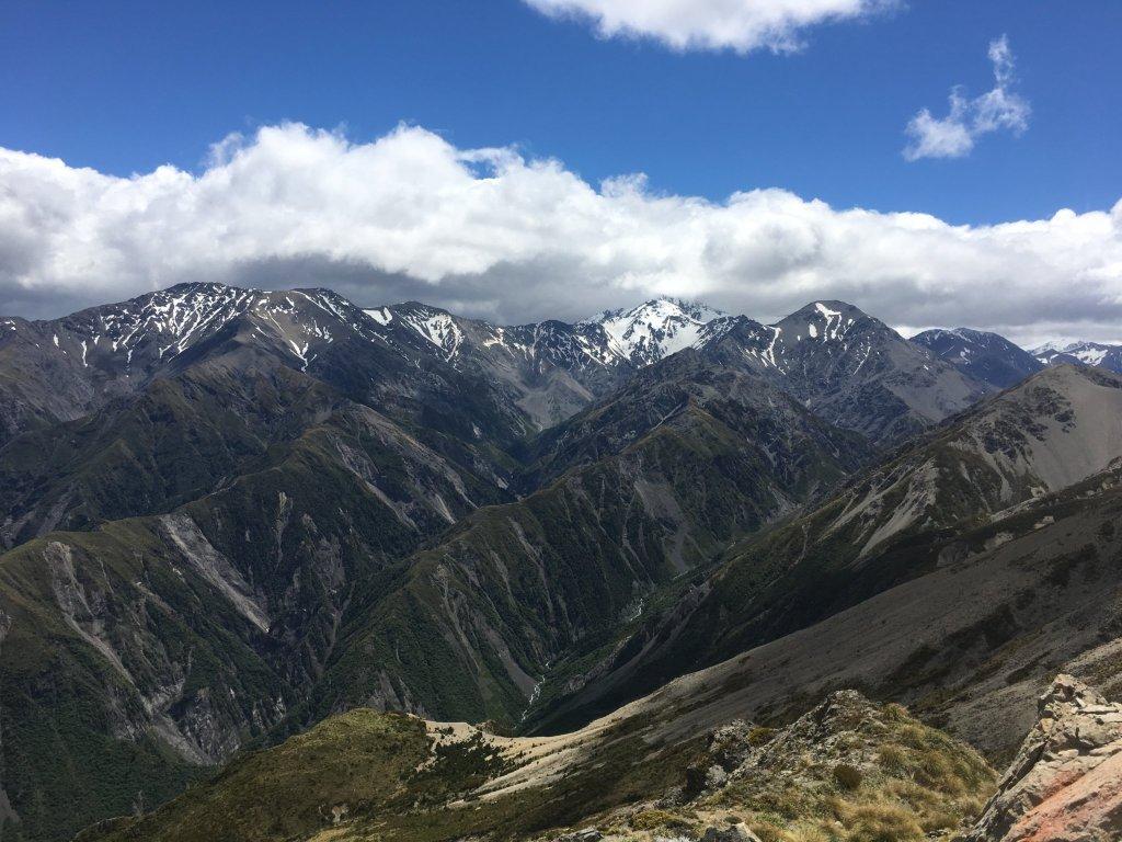 Seaward Kaikoura Range with Mount Manakua in the clouds.