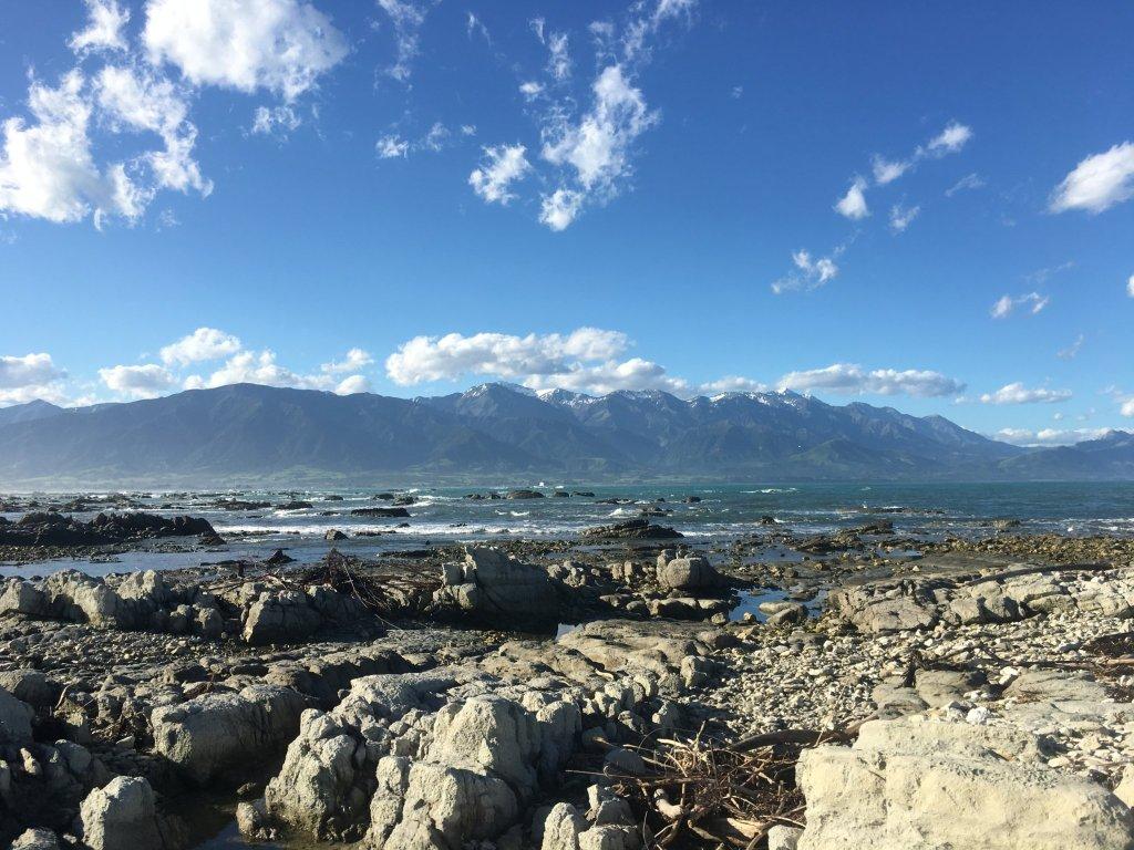 Looking across the water from Kaikoura to the Seaward Kaikoura Mountain Range with Mount Fyffe on the left.