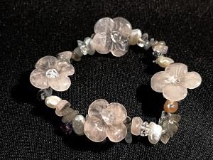 Bracelet Labradorite Quartz rose Perles d'eau douce