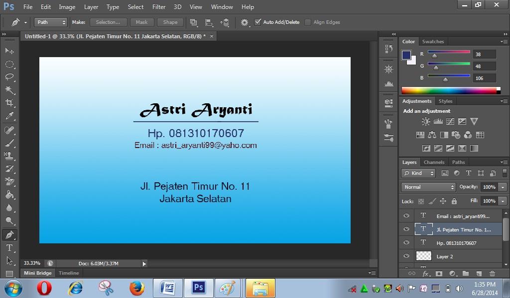 Cara Membuat Kartu Nama Dengan Photoshop Cs6 Astri Aryanti