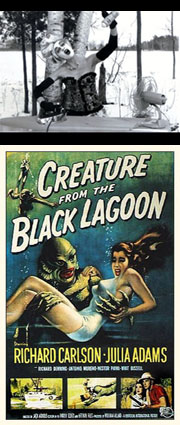 "Still from ""Mother Nature"" by Cathy Cook; Poster for ""The Creature from the Black Lagoon"""