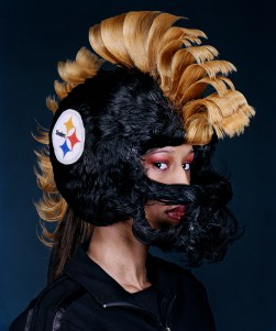 Steelers Hair Helmet, design by Little Willie, photograph by David Yellen from the book Hair Wars, 2006