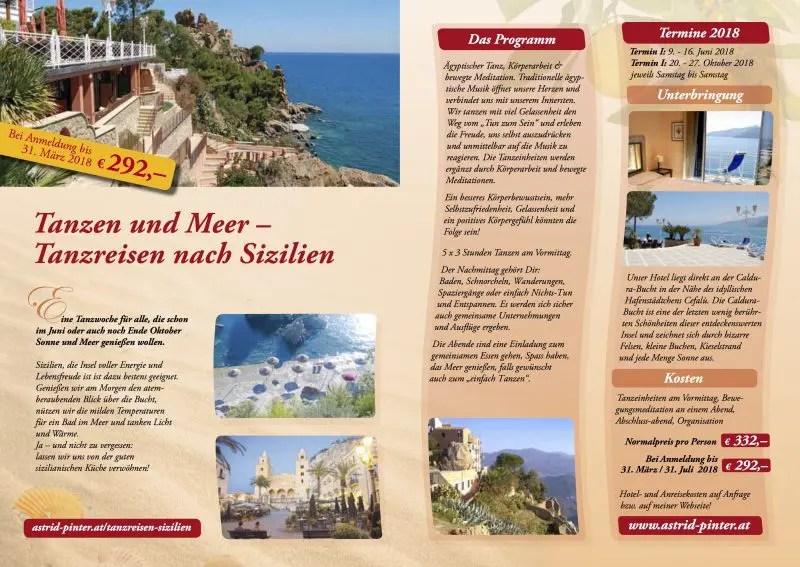 Tanzen & Meer - Tanzreisen nach Sizilien - Flyer - zum Download auf das Bild klicken!