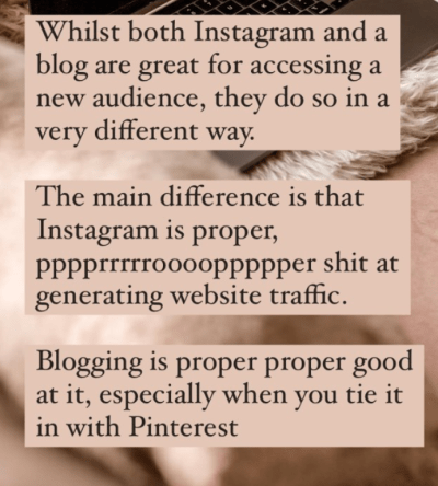 Screenshot of Studio Cotton IG stories: difference between using Instagram and Pinterest as marketing tools.