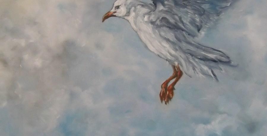 Air-Borne, 30 cm x 40 cm, oil on canvas, 2012 door Astrid de Rie
