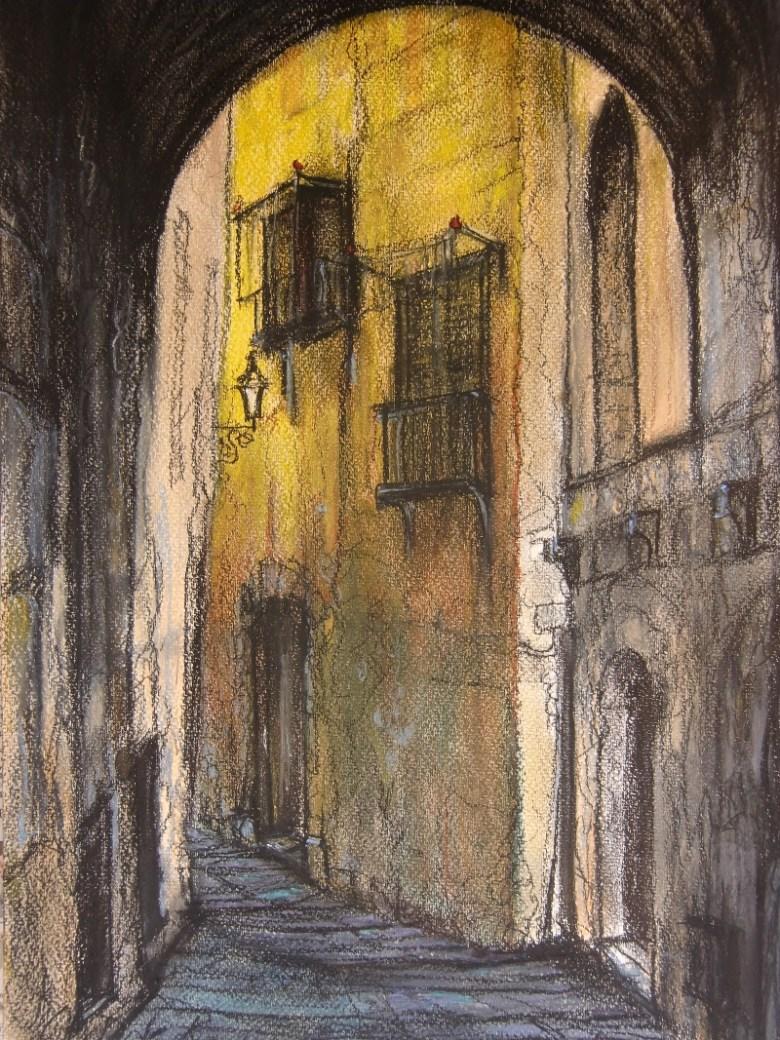 Steegje in de Oude Stad, Pastel & Conté op canvaspapier, 45,5 cm x 30,5 cm, 2013